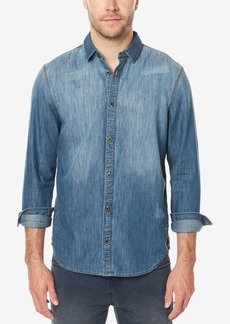 Buffalo Jeans Buffalo David Bitton Men's Distressed Denim Shirt with Faux-Suede Elbow Patches