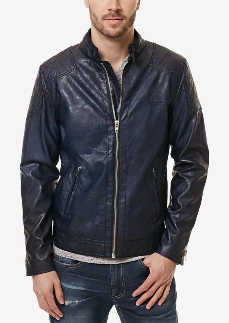 Buffalo Jeans Buffalo David Bitton Men's Jadid Faux-Leather Moto Jacket