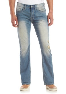 Buffalo Jeans Buffalo David Bitton Men's King Slim Fit Bootcut Jean in Sanded and Dirty Wash Distressed 31X32