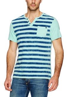 Buffalo Jeans Buffalo David Bitton Men's Kipunk Short Sleeve Henley Stripe Fashion Knit Shirt