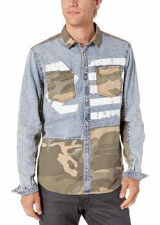 Buffalo Jeans Buffalo David Bitton Men's Long Sleeve Light Denim Acid wash Shirt