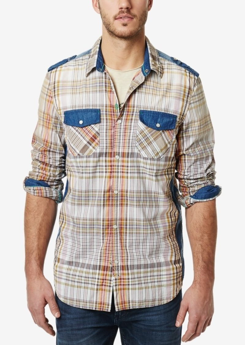 Buffalo Jeans Buffalo David Bitton Men's Plaid Contrast-Trim Long-Sleeve Shirt