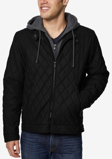 Buffalo Jeans Buffalo David Bitton Men's Quilted Full-Zip Moto Jacket with Removable Hood