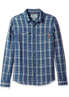 Buffalo Jeans Buffalo David Bitton Men's Sabera Ss Regular Fit Washed Plaid Button Down Shirt