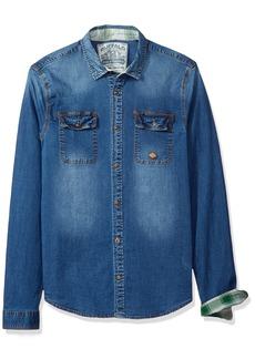 Buffalo Jeans Buffalo David Bitton Men's Sabitelo-x Ls Slim Stretch Slub Denim Button Down Shirt
