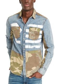Buffalo Jeans Buffalo David Bitton Men's Sarax Regular-Fit Pieced Colorblocked Printed Shirt