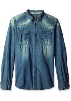 Buffalo Jeans Buffalo David Bitton Men's Satilam Long Sleeve Light Denim Shirt