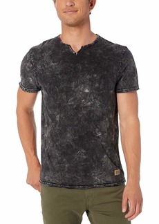Buffalo Jeans Buffalo David Bitton Men's Short Sleeve Notch Neck Burnout Dark Floral Print tee