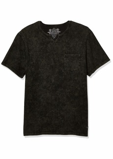 Buffalo Jeans Buffalo David Bitton Men's Short Sleeve Split Neck tee with Lava dye & Acid wash