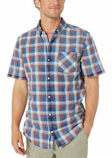 Buffalo Jeans Buffalo David Bitton Men's Short Sleeve Washed Indigo Plaid Shirt  X Large