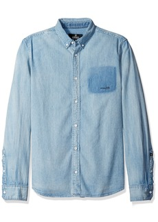 Buffalo Jeans Buffalo David Bitton Men's Sigmum Long Sleeve Bleached Denim Fashion Shirt wash