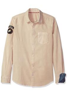 Buffalo Jeans Buffalo David Bitton Men's Silvur Long Sleeve Regular Fit Stretch Button Down Shirt