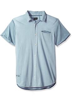 Buffalo Jeans Buffalo David Bitton Men's Siminika Short Sleeve Stretch Chambray Button Down Shirt