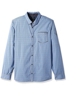 Buffalo Jeans Buffalo David Bitton Men's Sipirs Long Sleeve Solid Stretch Button Down Shirt