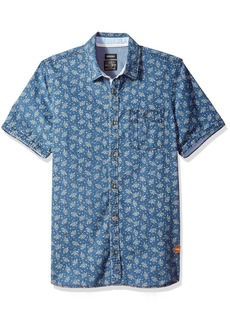 Buffalo Jeans Buffalo David Bitton Men's Sirtur Short Sleeve Chambray Printed Button Down Shirt