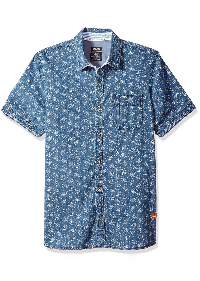 Buffalo Jeans Buffalo David Bitton Men's Sirtur Short Sleeve Chambray Printed Button Down Shirt