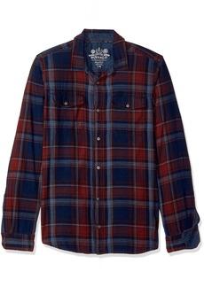 Buffalo Jeans Buffalo David Bitton Men's Sistym Long Sleeve Denim Plaid Button Down Shirt Indigo