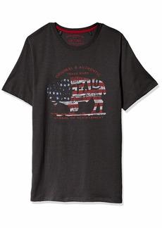 Buffalo Jeans Buffalo David Bitton Men's Short Sleeve Americana TEE Regular Garment WASH Charcoal