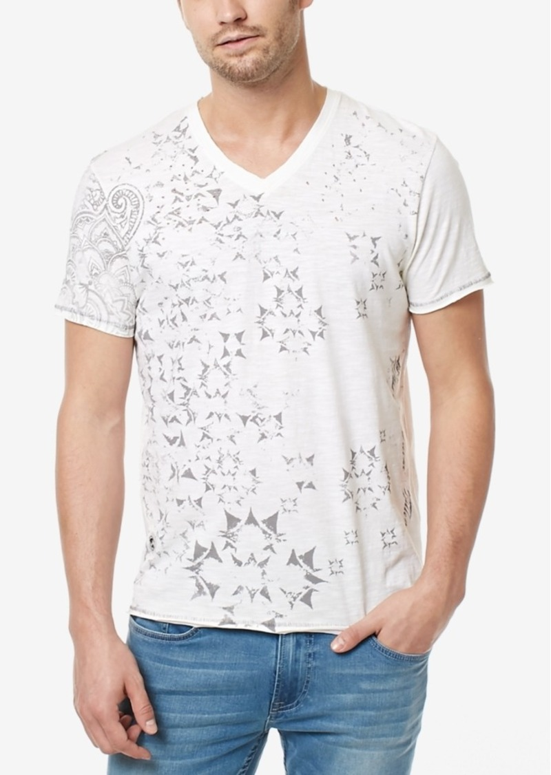 42750ced747a Buffalo David Bitton Men's Titree Graphic-Print Destroyed Cotton V-Neck T- Shirt