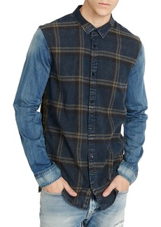 Buffalo Jeans BUFFALO David Bitton Sadrindo-X Denim-Sleeve Plaid Button-Down Shirt