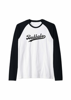 Buffalo Jeans Buffalo NY Simple Script Vintage Lake Erie New York Raglan Baseball Tee