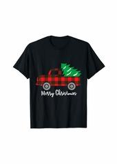 Buffalo Jeans Buffalo Plaid Christmas Tree Red Truck T-Shirt