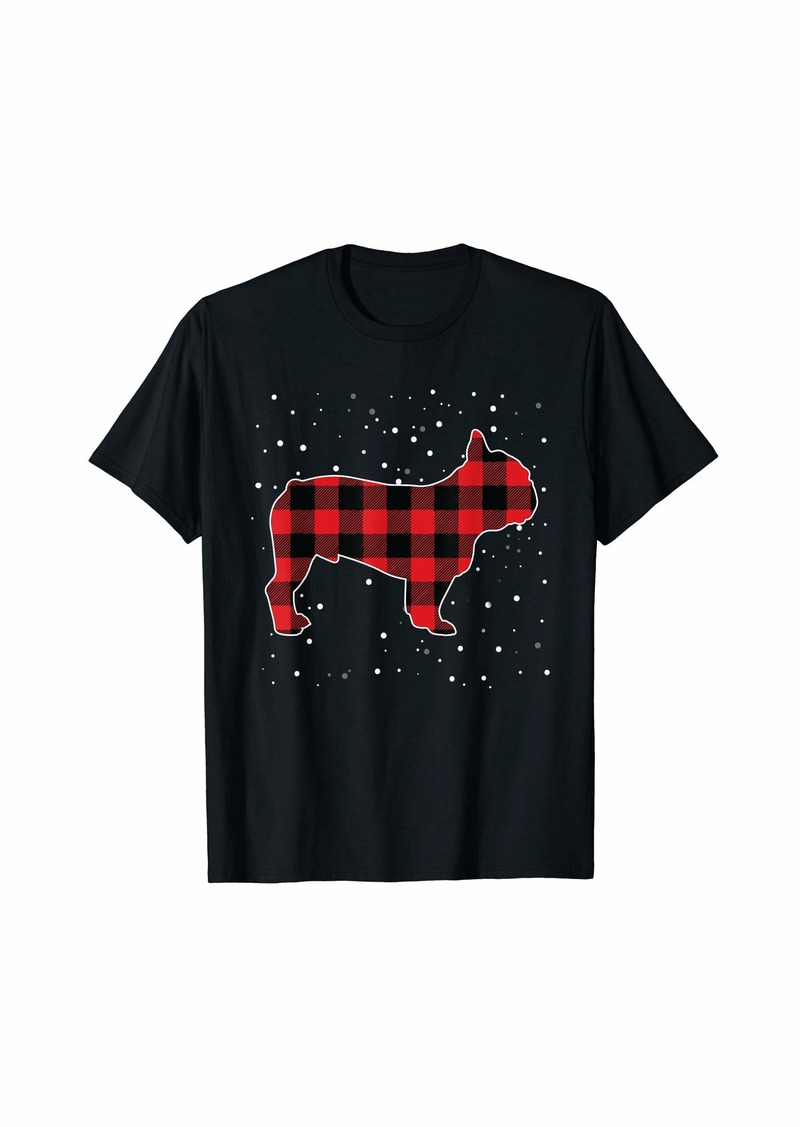 Buffalo Jeans Buffalo Plaid French Bulldog Christmas Matching Pajama Gift T-Shirt