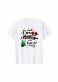 Buffalo Jeans Buffalo Plaid Hot Cocoa Bake Stuff Christmas Movies Xmas T-Shirt