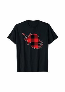 Buffalo Jeans Christmas Pjs Girls Women Kids Gift Unicorn Matching Plaid T-Shirt