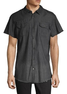 Buffalo Jeans Frayed Short-Sleeve Button-Down Shirt