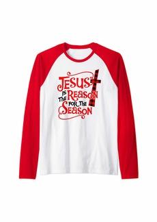 Buffalo Jeans Jesus Is The Reason For The Season Christmas Xmas Plaid Gift Raglan Baseball Tee