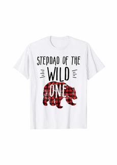 Buffalo Jeans Mens Stepdad of Wild One Buffalo Plaid Lumberjack 1st Birthday T-Shirt