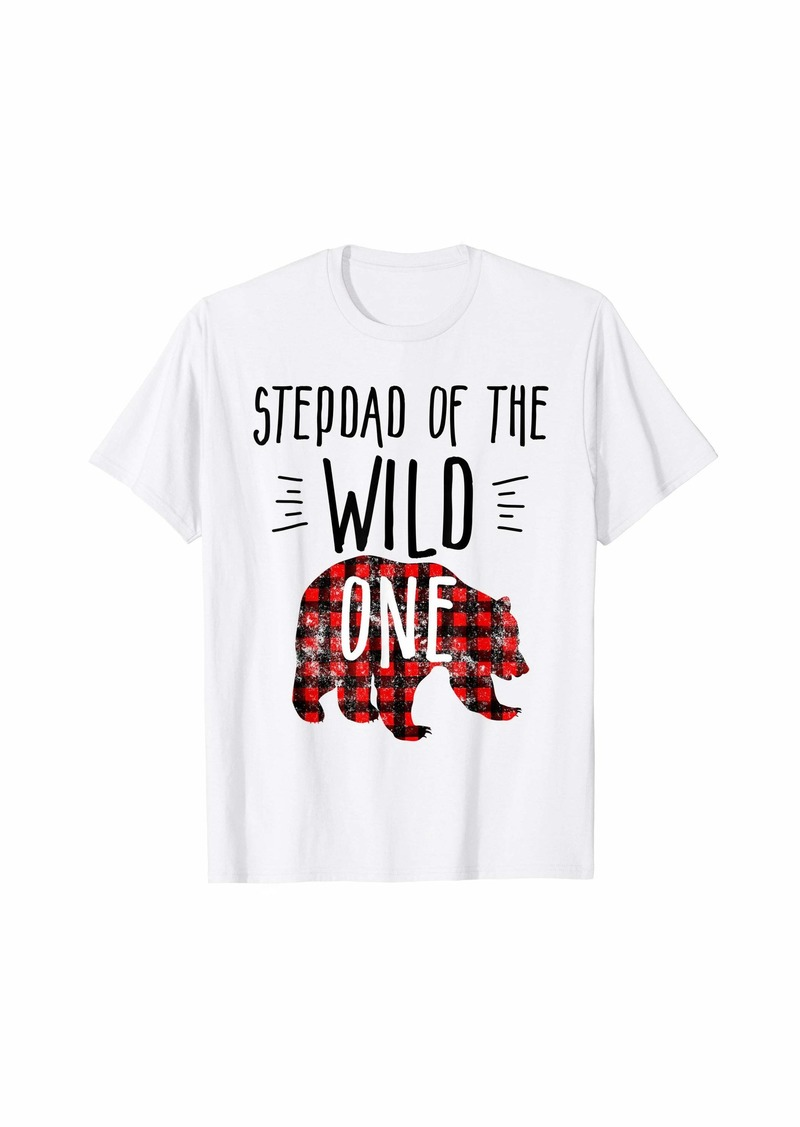 Buffalo Jeans Mens Stepdad of Wild One Buffalo Plaid Lumberjack 1st Birthday T-Shirt