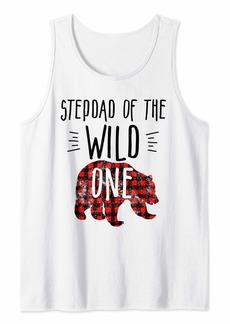 Buffalo Jeans Mens Stepdad of Wild One Buffalo Plaid Lumberjack 1st Birthday Tank Top