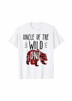 Buffalo Jeans Mens Uncle of the Wild One Buffalo Plaid Lumberjack 1st Birthday T-Shirt