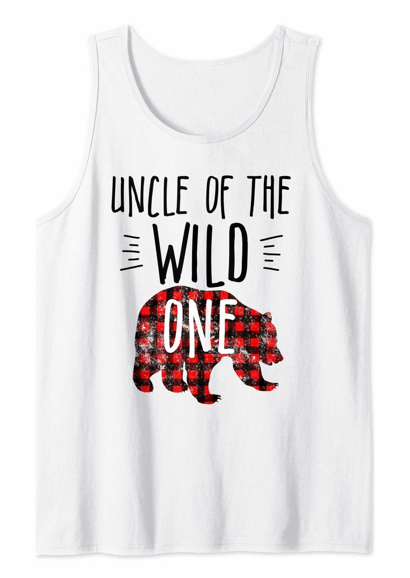 Buffalo Jeans Mens Uncle of the Wild One Buffalo Plaid Lumberjack 1st Birthday Tank Top