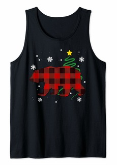 Buffalo Jeans Plaid Bear Wild Animal Buffalo Family Pajama Christmas Tank Top