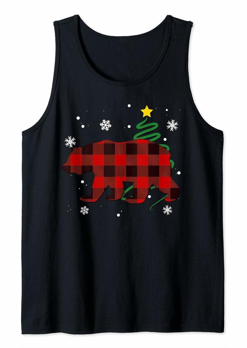 Buffalo Jeans Plaid Bear Wild Animal Buffalo Family Pajama Christmas Tank Top