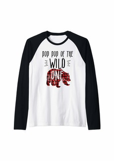 Buffalo Jeans Pop Pop of Wild One 1 Buffalo Plaid Lumberjack 1st Birthday Raglan Baseball Tee