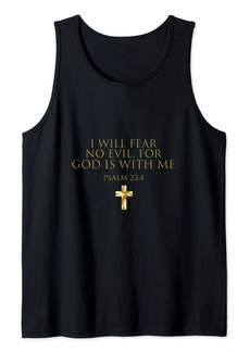 Buffalo Jeans Psalm 23:4 Bible Verse I Will Fear No Evil God Is With Me Tank Top