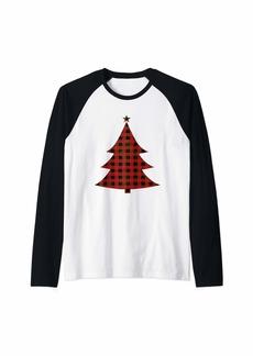 Buffalo Jeans Red Buffalo Plaid Christmas Tree Matching Family Xmas Tee Raglan Baseball Tee
