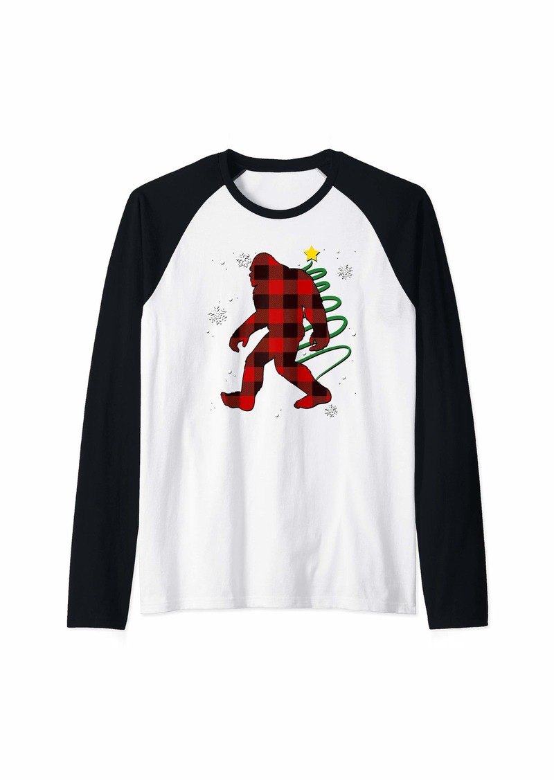 Buffalo Jeans Red Plaid Bigfoot Buffalo Sasquatch Forrest Animal Pajama Raglan Baseball Tee