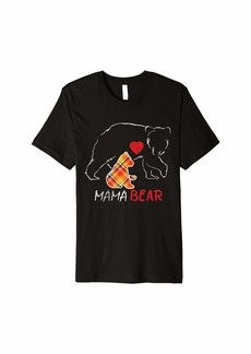 Buffalo Jeans Red Plaid Flannel Bear Mama Proud Mom Family Matching Pajama Premium T-Shirt