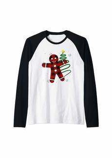 Buffalo Jeans Red Plaid Gingerbread Man Buffalo Gingerman Pajama Christmas Raglan Baseball Tee