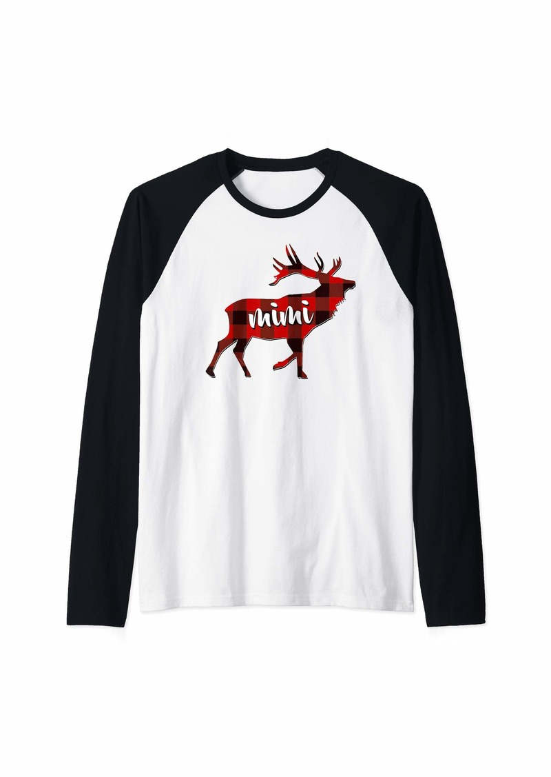 Buffalo Jeans Red Plaid Mimi Buffalo Matching Family Reindeer Grandma Raglan Baseball Tee