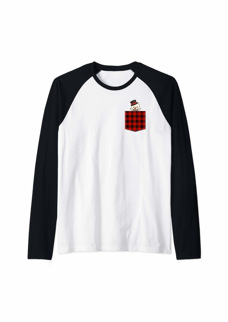 Buffalo Jeans Red Plaid Snowman in Pocket Buffalo Family Pajama Christmas Raglan Baseball Tee