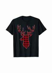 Buffalo Jeans Reindeer Deer Head red plaid Christmas Pajama Silhouette T-Shirt
