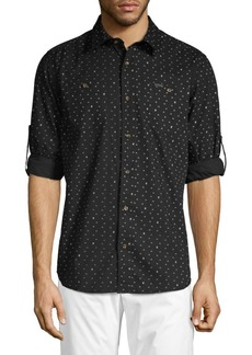 Buffalo Jeans Saladeen Arrow Print Tab-Sleeve Shirt