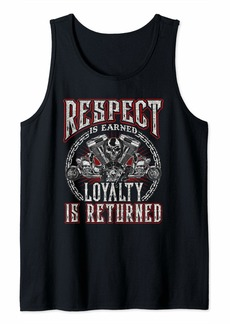 Buffalo Jeans Skull Biker Gift Motorcycle Respect Earned Loyalty Returned Tank Top