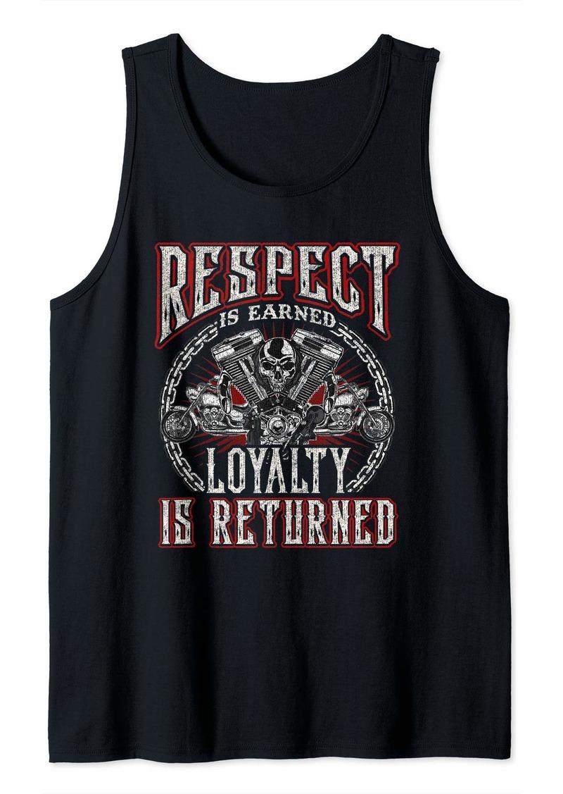 Buffalo Jeans Skull Biker Gift Motorcycle Respect Earned Loyalty Returned Tank Top